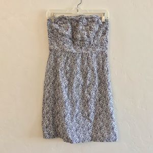 J. Crew Blue Floral Print Strapless Dress Size 4
